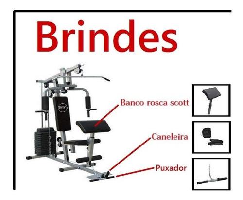 estação de musculação com 80kg + puxadores