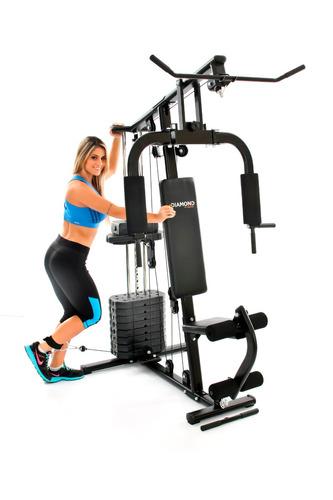 estação de musculação df 7000 com 50 kg + prancha abdominal