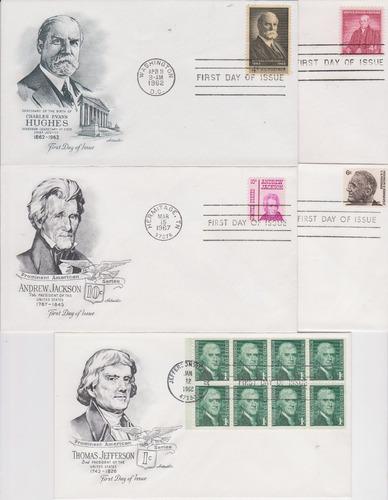 estados unidos 1958-1978 10 fdc´s de personajes jackson roos