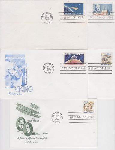 estados unidos 1961-1979 10 fdc´s astronaútica y aviación he