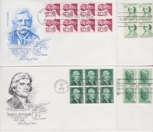 estados unidos 1963-1978 4 fdc´s de personajes en blocks de