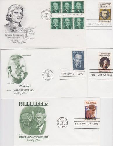 estados unidos 1965-1979 10 fdc´s de personajes wahington je