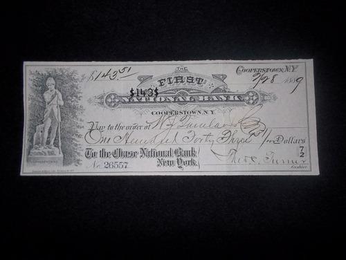 estados unidos, cheque 1° banco nacional (ny) - 1889
