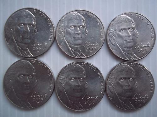 estados unidos five 5 cents 2006 2007 2008 2013 2014 2016