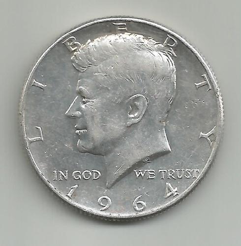 estados unidos half dollar kennedy 1964  silver 900 vf+ 8/10