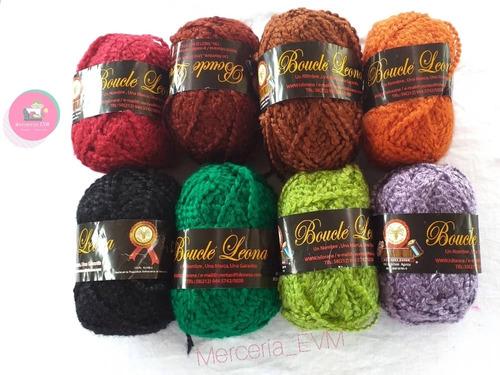 estambre boucle leona 100grs lana para tejer unicolor varios