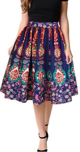 estampado floral plisado de mujer una línea falda flare m
