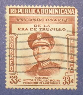 estampilla 30c xxv aniversario trujillo molina r dominicana