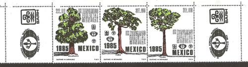 estampilla congreso forestal flora 1985