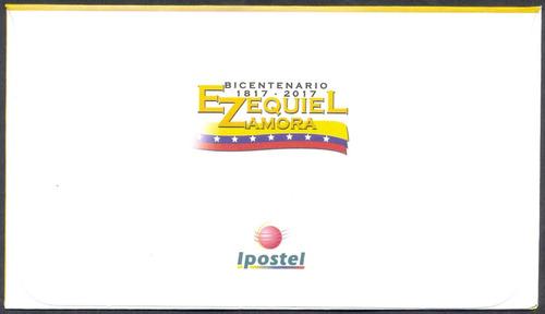 estampilla de venezuela sobre 1er día ezequiel zamora 2017