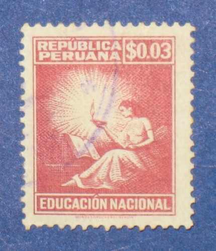 estampilla educación nacional s/ 0.03 república peruana 1961