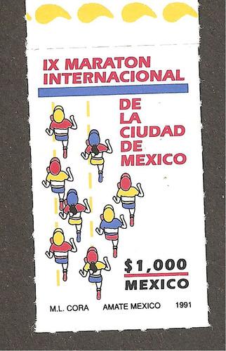 estampilla maratón de la ciudad méxico 1991