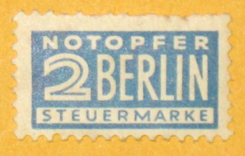 estampilla notopfer 2 berlin steuermarke alemania rusia rara