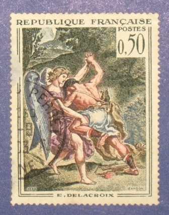 estampilla stamp 0.50 francia republique francaise delacroix