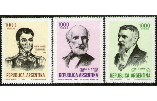 estampillas argentinas serie  próceres argentinos  1981