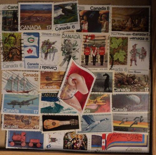 estampillas de canada: 600 sellos diferentes sin papel