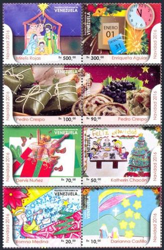 estampillas de venezuela series de 8 valores de navidad 2016