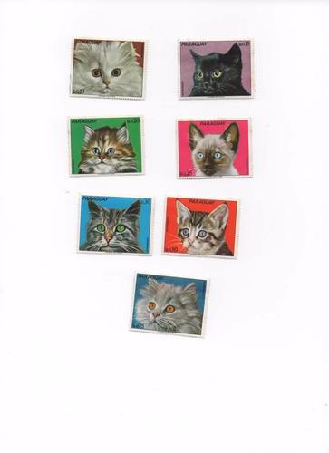 estampillas del paraguay gatos