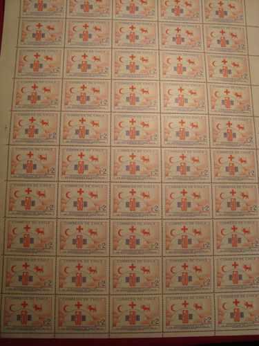 estampillas mint pliego (50), cincuentenario soc. cruz roja