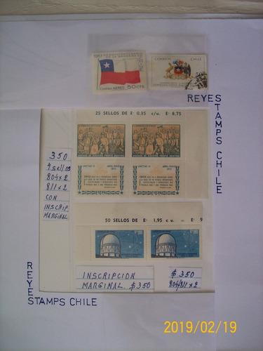 estampillas sellos chilenos nuevos mint