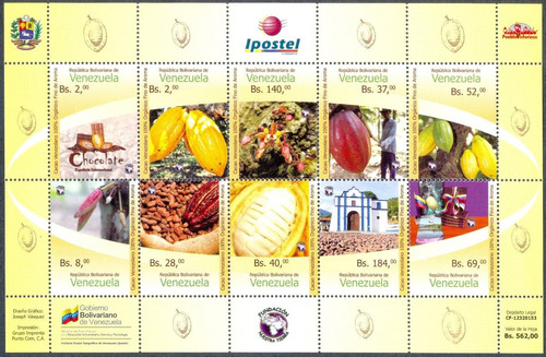 estampillas venezuela serie 10 valores cacao venezolano 2015