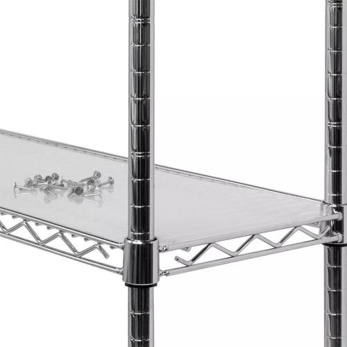 estante aço 3 prateleiras cromada aramada 90 cm+ 3 forros