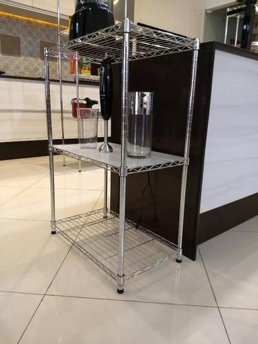 estante aço 3 prateleiras cromada aramada 90 cm +f gratis