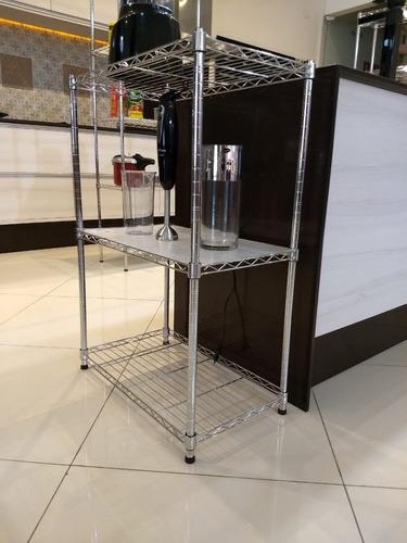 estante aço 3 prateleiras cromada aramada 90 cm + rodízio