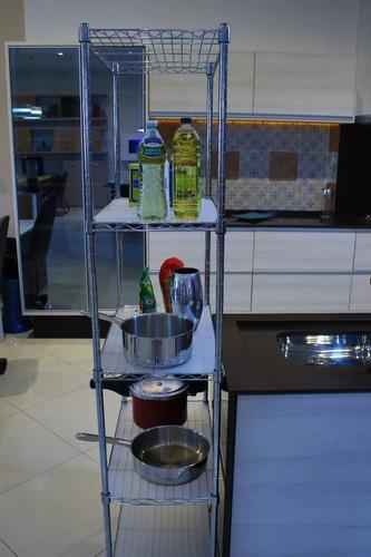 estante aço 5 prateleiras cromada aramada 180 cm c rodinha