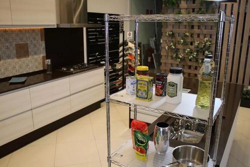 estante aço 5 prateleiras cromada aramada 180 cm + rodízio