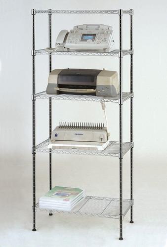 estante aço 5 prateleiras cromada aramada 180 cm + rodízios