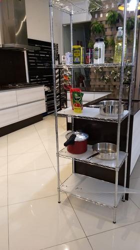 estante aço 5 prateleiras cromada aramada 180cm c rodízios
