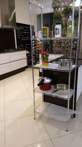estante aço 5 prateleiras cromada aramada c/ rodízios/forros