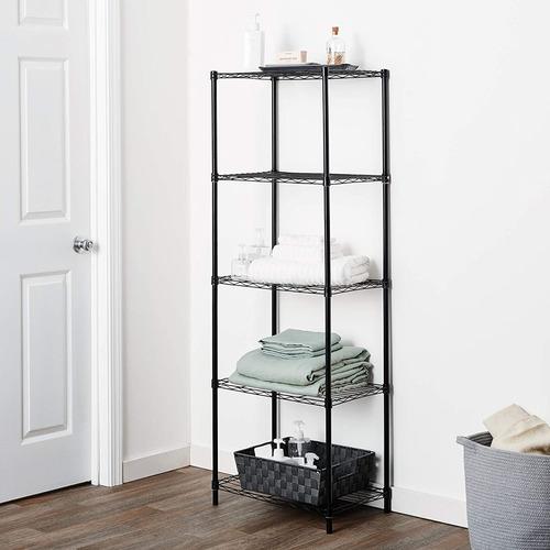 estante aço 5 prateleiras preta aramada 180 cm