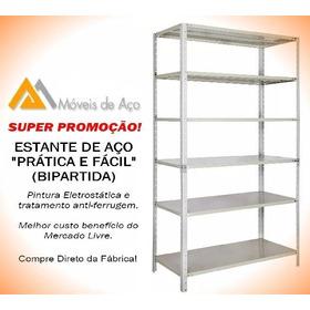 Estante Aço Bipartida Cinza 40cm Prática & Fácil C/06 Prat.