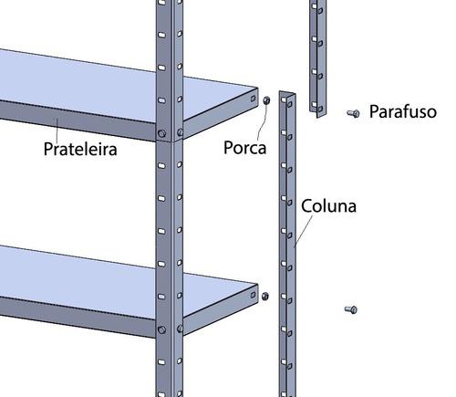 estante aço multi-uso c/reforço 6 prateleira 25kg/prat cinza