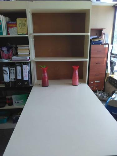 estante biblioteca madera 30x63x180 5 niveles + meson