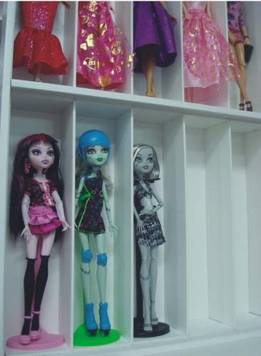 estante boneca barbie monster high 20 nichos promoção