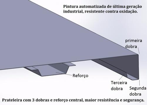 estante de aço com 5 bandejas de 0,30 x 0,92 cm