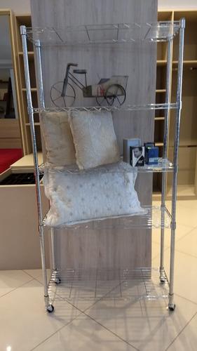 estante de aço cromado 5 prateleiras rack aramado + 5 forros