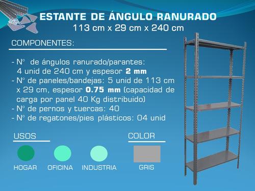estante de ángulo ranurado 113 cm x 29 cm x 240 cm resistent