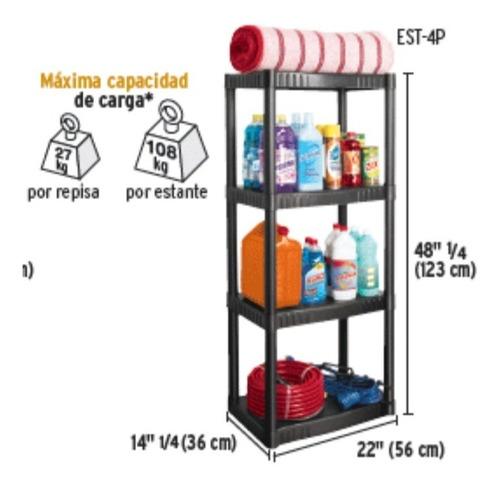 estante de plástico de 4 repisas