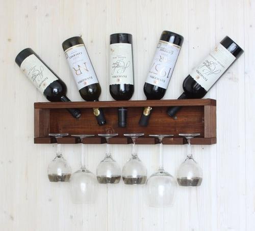 estante de vinho adega e porta taças em madeira pinus