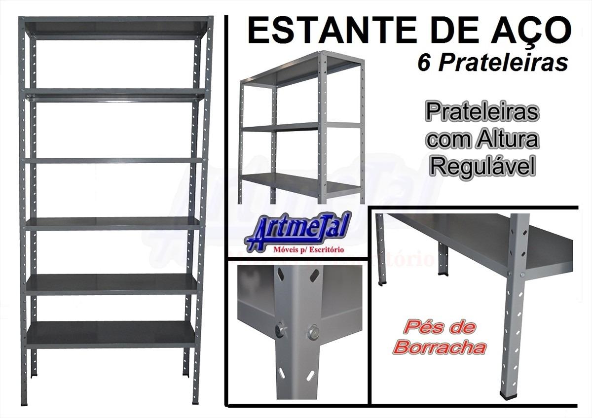 Estante Em Aço Seis Prateleiras Reguláveis E Pés De Borracha R$  #A52C26 1200x848
