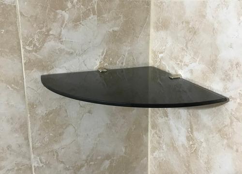 estante esquinero baño vidrio coverglass negro 5mm 20x20