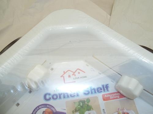 Estante esquinero pl stico con ventosas para ba o o cocina for Ventosas para bano