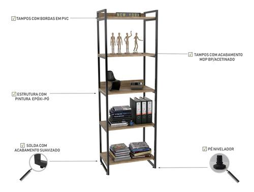 estante estilo industrial 1.87x0.60m c/05 prateleiras kuadra