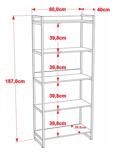 estante estilo industrial 1.87x0.80m c/05 prateleiras kuadra