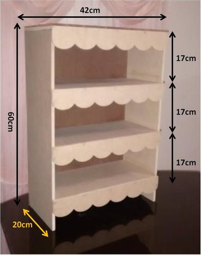 estante exhibidor mobiliario candy bar mdf crudo 42x20x60cm