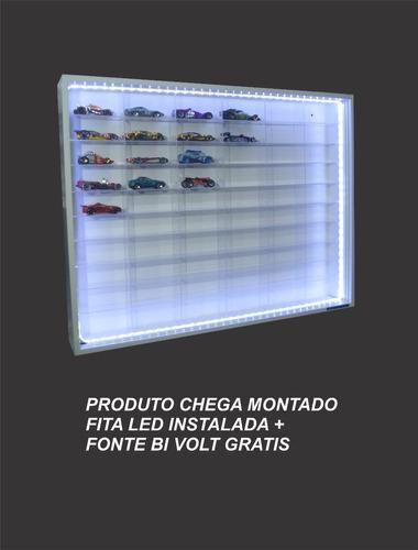 estante expositor miniaturas hot wheels 60 nichos led 10%off